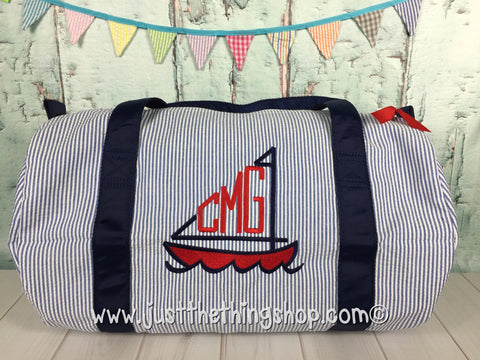 Sailboat Monogram  Duffel - Just The Thing Shop