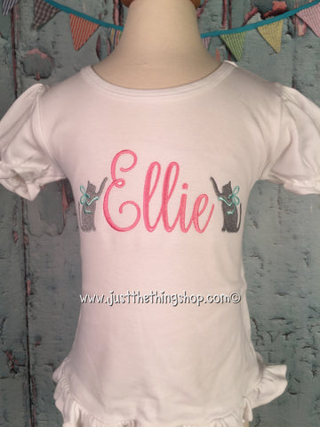Playful Kitten Name Embroidered Girls Shirt - Just The Thing Shop