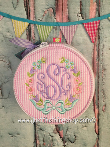 Floral Wreath Monogram  Button Jewelry Bags - Just The Thing Shop