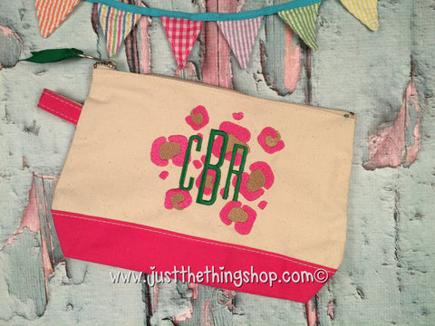 Canvas Make-Up Bags With Leopard Monogram - Just The Thing Shop