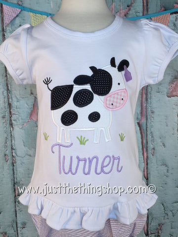Cow in Pasture Applique Girls Shirt - Just The Thing Shop