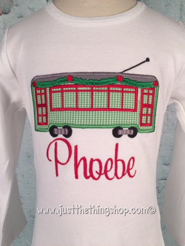 Christmas Streetcar Applique Girls Shirt - Just The Thing Shop