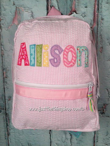 pink seersucker backpack with applique name