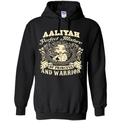 Aaliyah Perfect Mixture Of Princess And Warrior T Shirts Black / Small Pullover Hoodie 8 oz - Family Reunion Tee