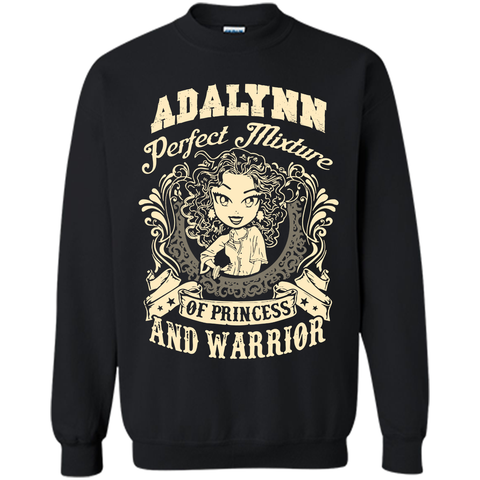 Adalynn Perfect Mixture Of Princess And Warrior T Shirts Black / Small Printed Crewneck Pullover Sweatshirt 8 oz - Family Reunion Tee