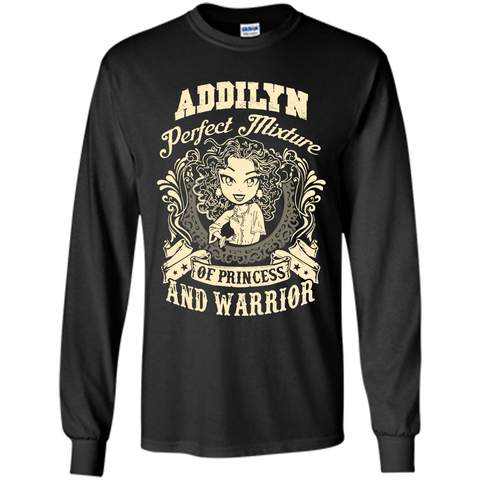 Addilyn Perfect Mixture Of Princess And Warrior T Shirts Black / Small LS Ultra Cotton Tshirt - Family Reunion Tee