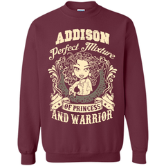 Addison Perfect Mixture Of Princess And Warrior T Shirts Printed Crewneck Pullover Sweatshirt 8 oz - Family Reunion Tee
