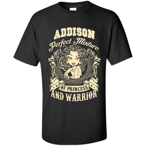 Addison Perfect Mixture Of Princess And Warrior T Shirts Black / Small Custom Ultra Cotton - Family Reunion Tee