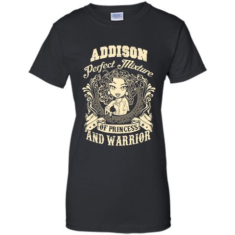 Addison Perfect Mixture Of Princess And Warrior T Shirts Black / Small Ladies Custom - Family Reunion Tee