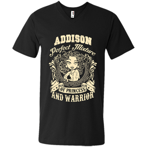 Addison Perfect Mixture Of Princess And Warrior T Shirts Black / Small Mens Printed V-Neck T - Family Reunion Tee