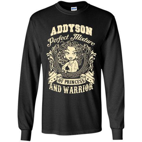 Addyson Perfect Mixture Of Princess And Warrior T Shirts Black / Small LS Ultra Cotton Tshirt - Family Reunion Tee