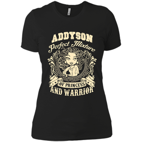 Addyson Perfect Mixture Of Princess And Warrior T Shirts Black / Small Next Level Ladies Boyfriend Tee - Family Reunion Tee