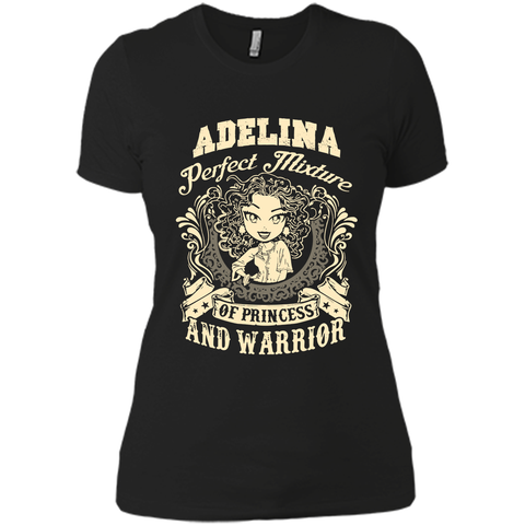 Adelina Perfect Mixture Of Princess And Warrior T Shirts Black / Small Next Level Ladies Boyfriend Tee - Family Reunion Tee