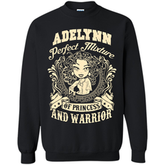 Adelynn Perfect Mixture Of Princess And Warrior T Shirts Printed Crewneck Pullover Sweatshirt 8 oz - Family Reunion Tee