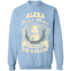 Alexa Perfect Mixture Of Princess And Warrior T Shirts Printed Crewneck Pullover Sweatshirt 8 oz - Family Reunion Tee