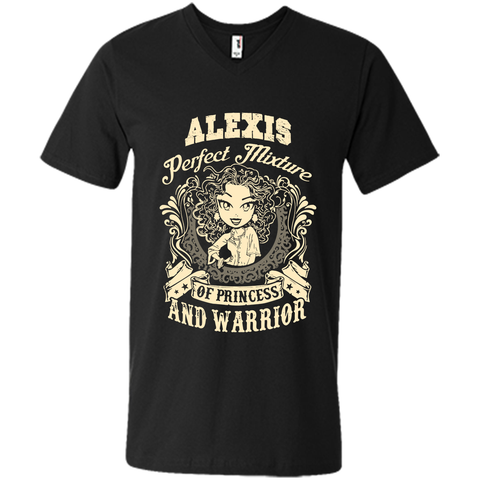 Alexis Perfect Mixture Of Princess And Warrior T Shirts Black / Small Mens Printed V-Neck T - Family Reunion Tee