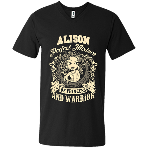 Alison Perfect Mixture Of Princess And Warrior T Shirts Black / Small Mens Printed V-Neck T - Family Reunion Tee