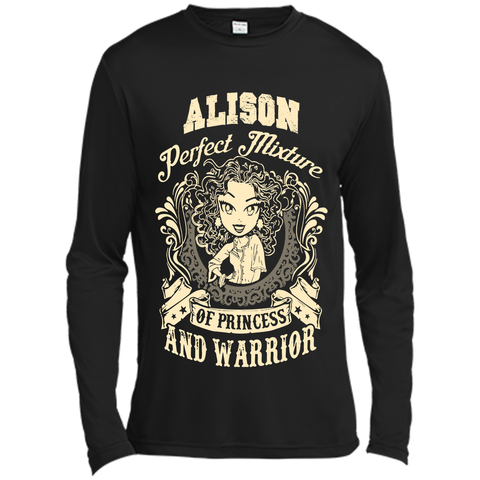 Alison Perfect Mixture Of Princess And Warrior T Shirts Black / Small Long Sleeve Moisture Absorbing Shirt - Family Reunion Tee