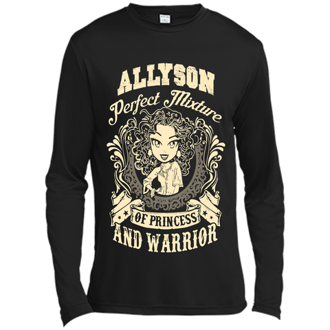 Allyson Perfect Mixture Of Princess And Warrior T Shirts Black / Small Long Sleeve Moisture Absorbing Shirt - Family Reunion Tee