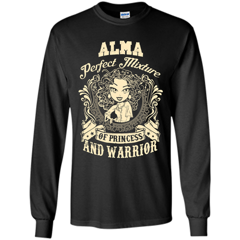 Alma Perfect Mixture Of Princess And Warrior T Shirts Black / Small LS Ultra Cotton Tshirt - Family Reunion Tee