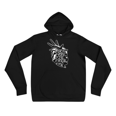 BORN FREE DIE FREE (BLACK/WHITE) MEDIUM WEIGHT HOODIE