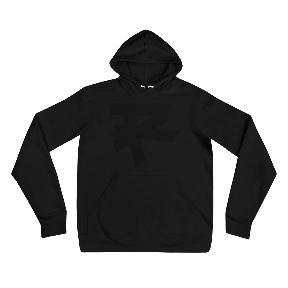 R LOGO (BLACK) MEDIUM WEIGHT HOODIE