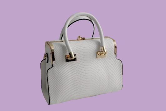 Lizard Print Clutch Top Satchel - White