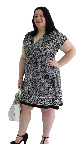 Plus size - Navy & White Print V-Neck Dress