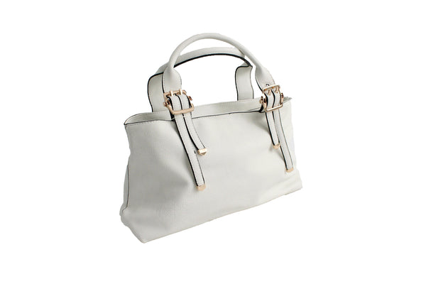 Genuine Leather Classic Satchel Hand Bag - White