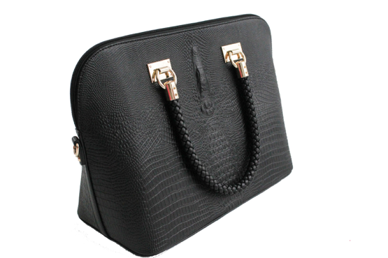 Lizard Print Braided Handle Satchel - Black