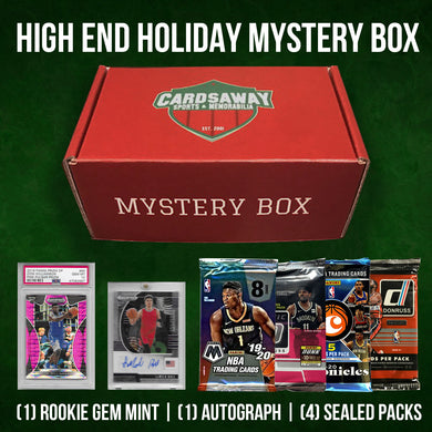 HIGH END HOLIDAY MYSTERY BOX (1 ROOKIE GEM MINT, 1 AUTO, 4 PACKS!)
