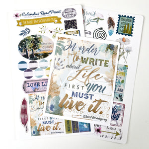 "TN02 TRAVELER'S NOTEBOOK, ""Nature Walk"" sticker kit, 2 sheet sticker kit, travelers Notebook kit, floral, decorative stickers for fauxdori - ColumbusRoadPrints"