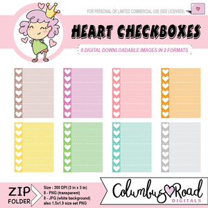 Checkboxes with heart, DIGITAL DOWNLOADABLE CLIPART, checklists, Goodnotes art, sticker art - ColumbusRoadPrints