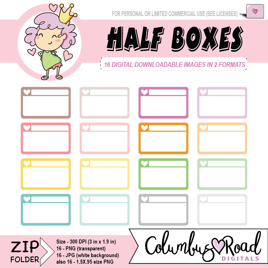 Half Boxes, DIGITAL DOWNLOADABLE CLIPART, half box art, Goodnotes art, sticker art - ColumbusRoadPrints