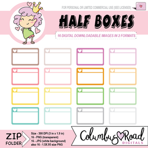 Half Boxes, DIGITAL DOWNLOADABLE CLIPART, half box art, Goodnotes art, sticker art