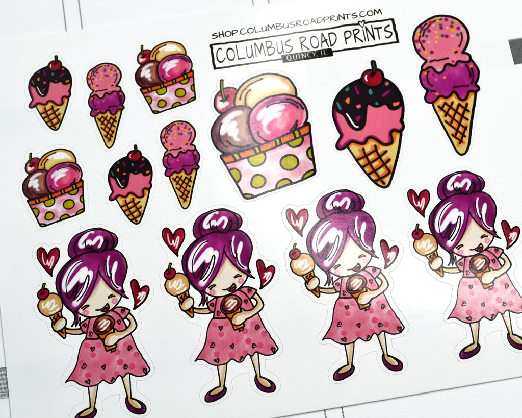 Planner Girl stickers, Ice Cream, Ice Cream Cones, Treat day, planner stickers, fits all planners - ColumbusRoadPrints