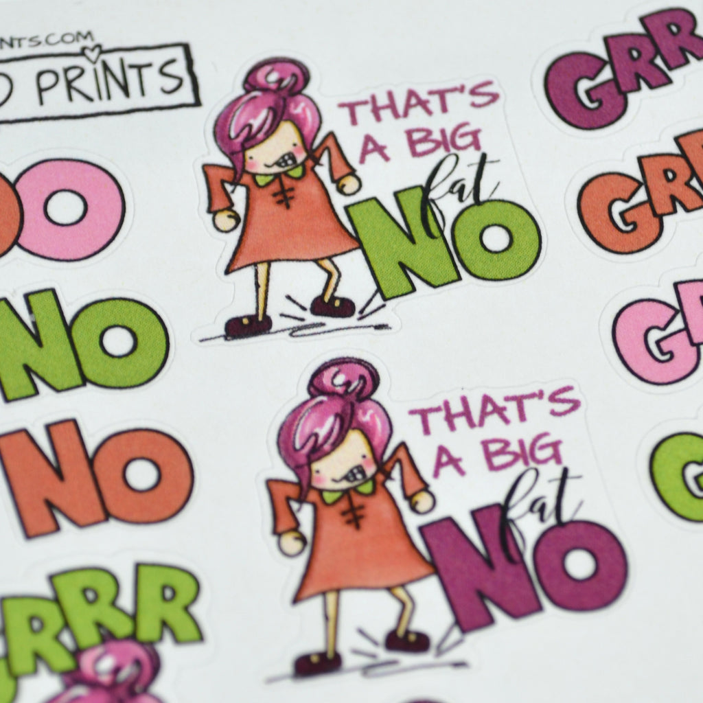 "Humorous stickers, ""Angry Girl"", Planner Girl, Mad girl, No Girl, planner stickers fits all planners - ColumbusRoadPrints"