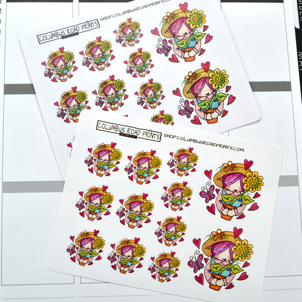 "Planner Girl ""Gardening Girl"" planner stickers, decorative planner stickers fits all planners, fits Erin Condren, Personal Planner - ColumbusRoadPrints"