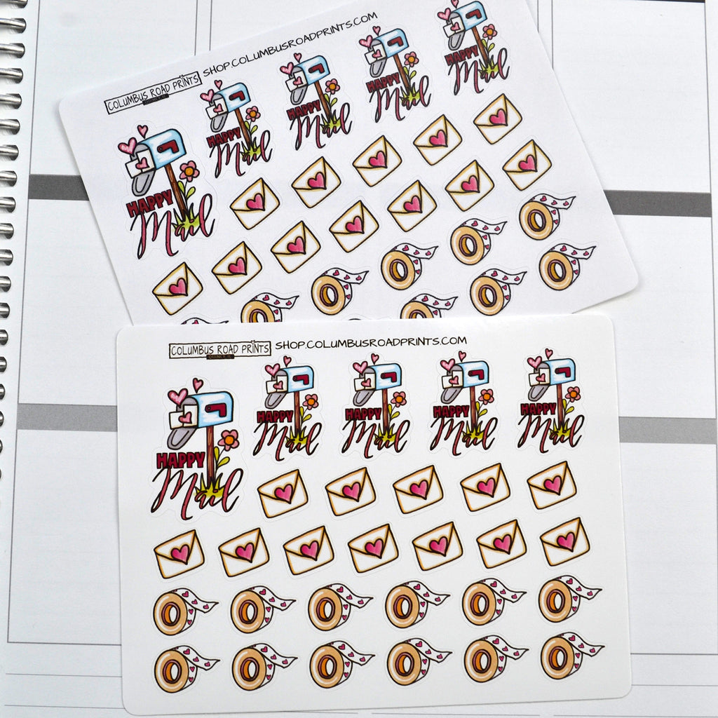 "Planner Girl ""Happy Mail"" planner stickers, washi, decorative planner stickers fits all planners, fits Erin Condren, Personal Planner"