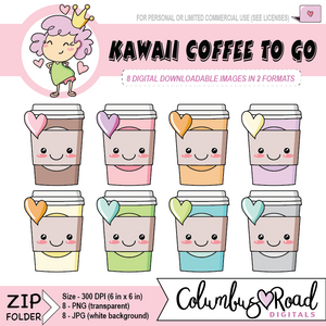 Kawaii Coffee To-Go, DIGITAL DOWNLOADABLE CLIPART, coffee cup digital artwork, Goodnotes art, sticker art