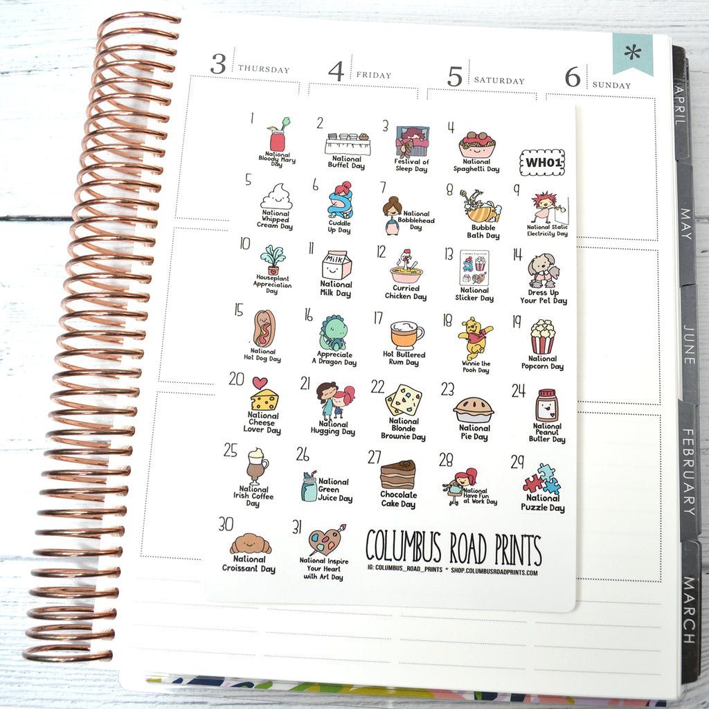 [WH01] January 2019 Wacky Holidays - all planners