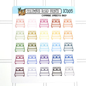 [IC005] Change Sheets, Bed stickers, Wash sheets reminder stickers - ColumbusRoadPrints