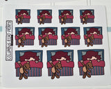 Bed time, Sleeping in, Sleepy Planner Girl Deco Stickers