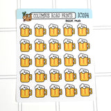 [IC014] Beer mugs, beer, drinking time, cold one brew icons - ColumbusRoadPrints