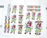 birthday party girl planner stickers