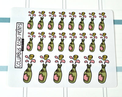 Pop some bubbly! Champagne hand drawn decorative stickers