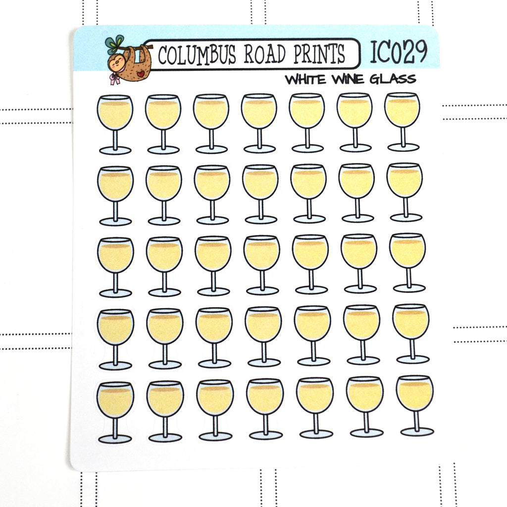 [IC029] White wine glass, wine time, wine glass icons - ColumbusRoadPrints