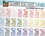 [IC021] Cleaning time, housework, spray bottle icons - ColumbusRoadPrints