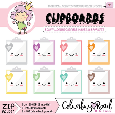 Kawaii Clipboards, DIGITAL DOWNLOADABLE CLIPART, kawaii clipboard, Goodnotes art - ColumbusRoadPrints