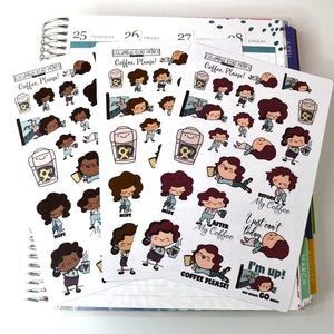 "Coffee Addict, ""Coffee, Please!"" Planner Girl, Hand drawn deco stickers, 3 options, exhausted, tired, grumpy planner girls"